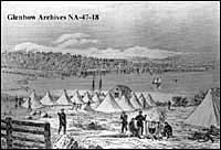 Camp of Red River expedition at Sault Sainte Marie, Ontario.
