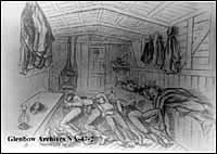 North-West Mounted Police sleeping in boxcars en route from Toronto, Ontario, to St. Paul, Minnesota.