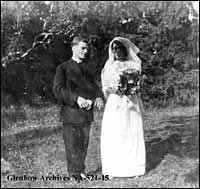Archdeacon and Mrs. Cecil Swanson on their wedding day, Erindale, Ontario.