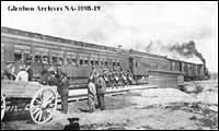 Prisoner of war troop train at Hearst, Ontario.