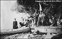 Wyndham family with boats at Lake Simcoe, Ontario.