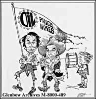 [Ontario Premier in lost battle over oil prices as rallied by Prime Minister Joe Clark and Alberta Premier Peter Lougheed.]